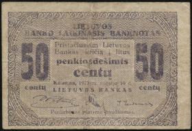 Litauen / Lithuania P.04a 50 Centu 1922 (3)
