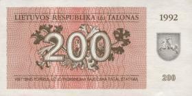 Litauen / Lithuania P.43 200 Talonas 1992 (1)