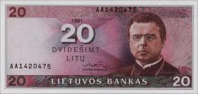 Litauen / Lithuania P.48 20 Litu 1991 (1993) (1)
