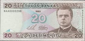 Litauen / Lithuania P.57 20 Litu 1993 (1) low number