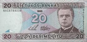 Litauen / Lithuania P.57 20 Litu 1993 (1)