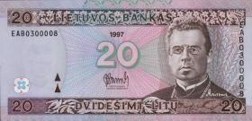 Litauen / Lithuania P.60 20 Litu 1997 (1)