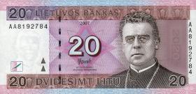 Litauen / Lithuania P.69 20 Litu 2007 (1) Serie AA