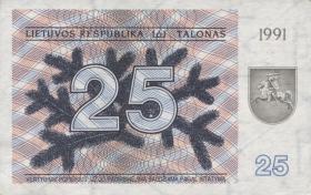 Litauen / Lithuania P.36b 25 (Talonas) 1991 (1/1-)