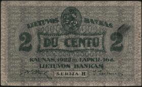 Litauen / Lithuania P.08a 2 Centu 1922 (3+)