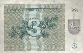 Litauen / Lithuania P.33a 3 (Talonas) 1991 (1/1-)