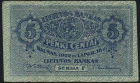 Litauen / Lithuania P.02a 5 Centai 1922 (3)