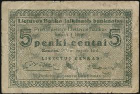 Litauen / Lithuania P.02a 5 Centai 1922 (4)