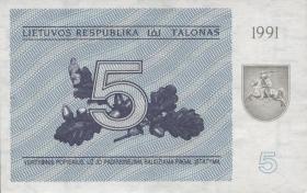 Litauen / Lithuania P.34b 5 (Talonas) 1991 (1)