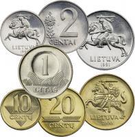 Litauen Münzsatz vor der Euro-Einführung