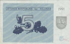 Litauen / Lithuania P.34a 5 (Talonas) 1991 (1/1-)