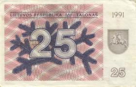 Litauen / Lithuania P.36a 25 (Talonas) 1991 (1-)