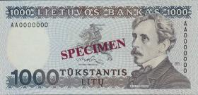 Litauen / Lithuania P.52 1000 Litu 1991 Specimen (1)