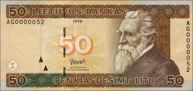 Litauen / Lithuania P.61 50 Litu 1998 (1) low number