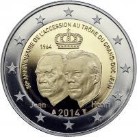 Luxemburg 2 Euro 2014 50 Jahre Thronbesteigung Großherzog Jean PP