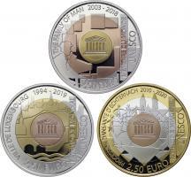 Luxemburg 3 x 2,5 Euro 2018, 2019, 2020 UNESCO-Welterbe (Trimetall PP)