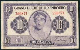 Luxemburg / Luxembourg P.44a 10 Francs (1944) (3+)
