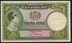 Luxemburg / Luxembourg P.46 50 Francs (1944) (3+)