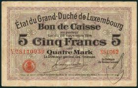 Luxemburg / Luxembourg P.23 5 Francs = 4 Mark 1914 (3+)