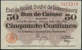 Luxemburg / Luxembourg P.26 50 Centimes 1918 (2+)