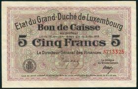 Luxemburg / Luxembourg P.29c 5 Francs 1918 (2)