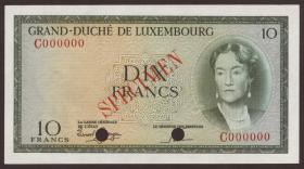 Luxemburg / Luxembourg P.48s2 10 Francs (1955) Specimen (1)