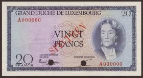 Luxemburg / Luxembourg P.49s 20 Francs (1955) Specimen (1)