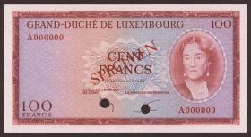 Luxemburg / Luxembourg P.52s 100 Francs 1963 Specimen (1)