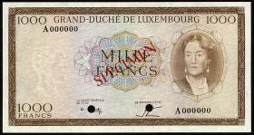 Luxemburg / Luxembourg P.52B 1000 Francs (1963) Specimen (1)