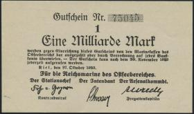 Reichsmarine Ostseebereich P.M27 1 Milliarde Mark 1923 (1/1-) 5-stellig