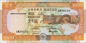 Macau / Macao P.070a 1000 Patacas 1991 (1)