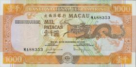 Macau / Macao P.075a 1000 Patacas 1999 (1)