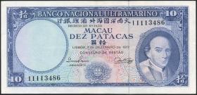 Macau / Macao P.055 10 Patacas 1977 (3+)
