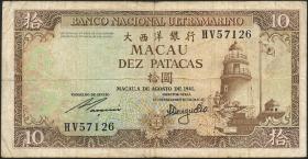 Macau / Macao P.059b 10 Patacas 1981 (3-)