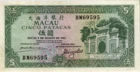 Macau / Macao P.058c 5 Patacas 1981 (3)
