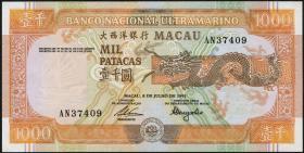 Macau / Macao P.070b 1000 Patacas 1991 (1)