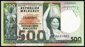 Madagaskar P.64a 500 Francs = 100 Ariary (1974) (1)