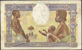 Madagaskar P.40 100 Francs (ca.1937) 2 Nadellöcher (3)