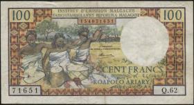 Madagaskar P.57 100 Francs = 20 Ariary (1966) (3)
