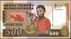 Madagaskar P.71a 500 Francs = 100 Ariay (1988-93) (1)