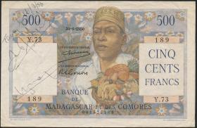 Madagaskar P.47a 500 Francs 1950 (3+)