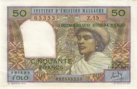 Madagaskar P.61 50 Francs = 10 Ariary (1969) (1/1-)