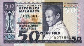 Madagaskar P.62a 50 Francs = 10 Ariary (1974-75) (1)