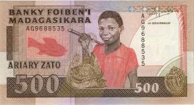 Madagaskar P.71b 500 Francs = 100 Ariay (1988-93) (1)