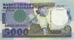 Madagaskar P.73 5000 Francs = 1000 Ariary (1988-93) (1)