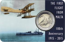 Malta 2 Euro 2015 100 Jahre Erster Flug Coincard