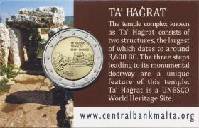 Malta 2 Euro 2019 Ta' Hagrat Tempel in Coincard