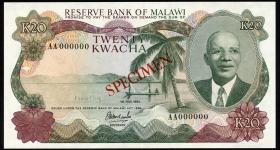 Malawi P.17s 20 Kwacha 1983 Specimen (1)