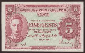 Malaya P.07a 5 Cents 1941 (1/1-)