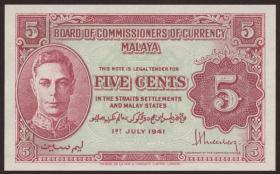 Malaya P.07a 5 Cents 1941 (1)